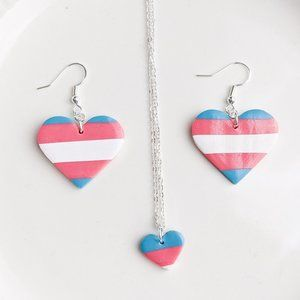 Handmade Trans Pride Flag Earrings and Necklace